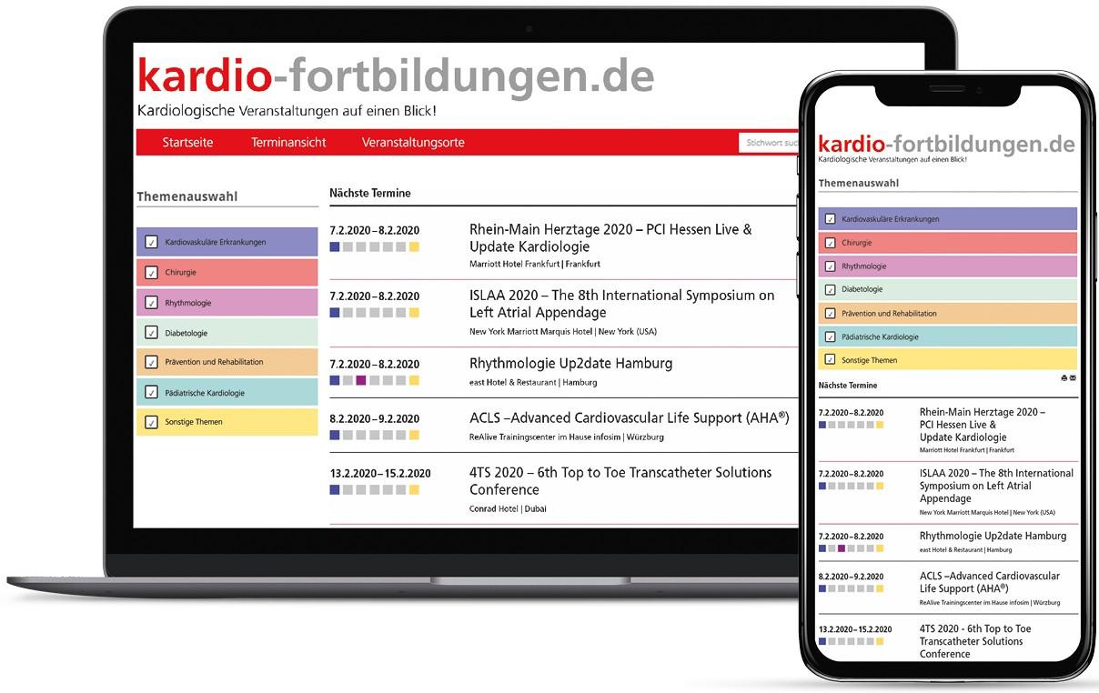 kardio-fortbildungen.de Desktop und Tablet